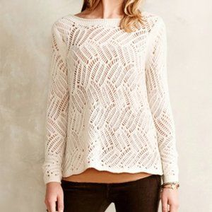 Angel of the North Anthro Ivory Loose Knit Sweater